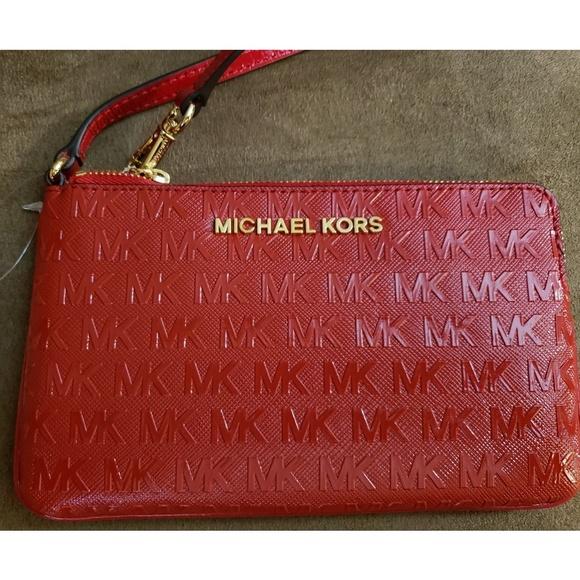 f7c05a56ede042 MICHAEL Michael Kors Bags | Michael Kors Chili Large Gusset Wristlet ...